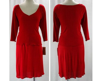 Size 10 Scarlet Red Designer Dress - Jersey Knit - Two Piece 1980s Top & Skirt by Dan De Santis - Original Tag - Deadstock - Bust 37 - 42131