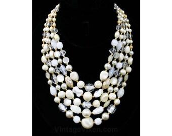 Chic White Multi-Strand Necklace - 1950s - Office Jewelry - Secretary Elegance - Filigree - Cut Glass - 50s - Five Strand - 42363