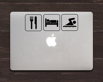 Eat Sleep Swim Vinyl MacBook Decal BAS-0140