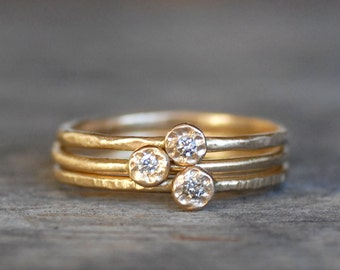 Skinny Mini Diamond Stacking Rings Set of 3 - Choose White or Natural Brown Diamonds, Eco-Friendly Recycled Gold