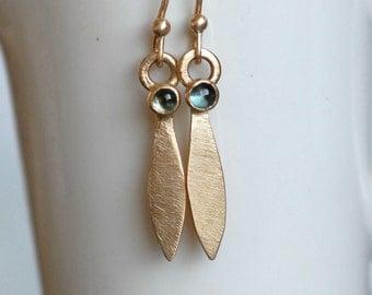 London Topaz Petal Earrings - Gold Petal Earrings - Blue Topaz Dangle Earrings - OOAK