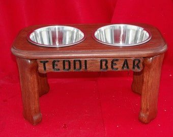 Elevated Large Dog Feeder Bowl, 12 Inch, Two Quart Bowls, Solid Oak Wood, FREE NAME and STAIN