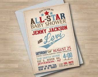 Baseball Baby Shower Invitation, Baseball Baby Shower Invite, All Star Vintage Baseball Shower