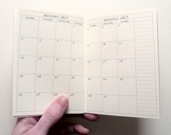 Traveler's Notebook, Month on 4 Pages, Passport Size, Ivory