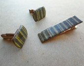 Vintage 50s Enamel Copper Cufflink Tie Clip Matching Set Mid Century Modernist Mens Jewelry Cuff Links Brown Green  SALE