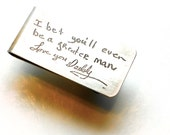 Personalized Money Clip--Actual Handwriting Jewelry