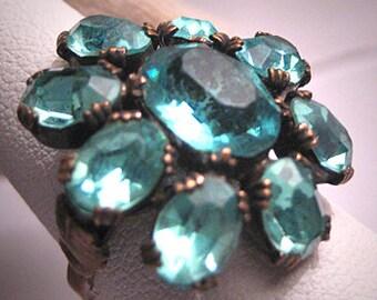Antique Victorian Aquamarine Paste Ring Vintage ArtDeco