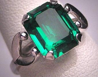 Antique Emerald French Paste Ring Vintage Art Deco Era 1930