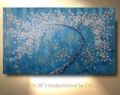 Original Tree Painting White Flower Blue Gold Aqua Abstract Paintings Canvas Art Oil Painting Decor Artwork Art by OTO