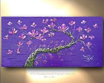 ORIGINAL Landscape Painting 48 x 24 Dark Purple Green Moss Pink Violet flower Tree Oil Abstract Texture Artwork Fine art canvas by OTO