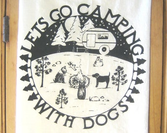 Camping with Dogs Kitchen Towel