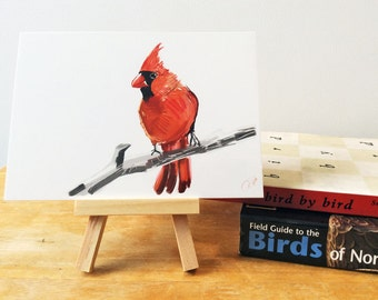 Northern Cardinal Print, Bird Illustration, Digital Drawing, Animal Wildlife Art Postcard NC1
