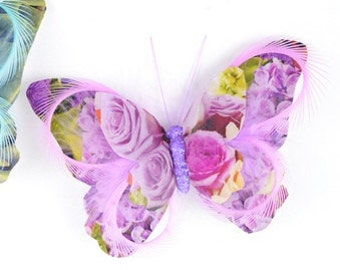 Feather Butterfly - One Lavander Print Paper Feather Butterfly On Clip - 5 Inches - Artificial Butterfly