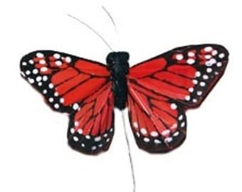 Feather Butterflies -12 Monarch Butterfly Embellishments in DEEP ORANGE - Artificial Butterflies