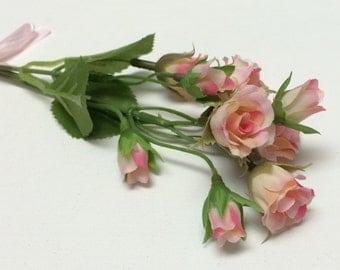Tiny Pink and Cream Rose Buds - Artificial Flowers, Silk Flowers, Flower Crown, Halo, Wedding Flowers, Hair Accessories, Millinery, Wreath