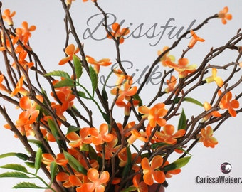 Orange WAXFLOWER Blossom Branches - Artificial Flowers, Wildflowers, Flower Crown, Halo, Wedding, Millinery