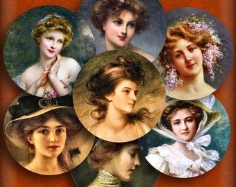 Victorian Women Portraits One Inch 1 Inch Circles Pendant Images Instant Download Printable Digital Collage Buttons Magnets Bottle Caps