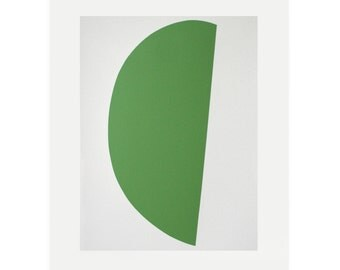 Minimalist print, silkscreen print, green, modern original art. Green Curve II, hard edged abstract by Emma Lawrenson