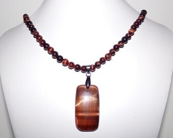 Red Tigereye Tag Necklace
