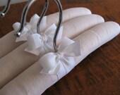 Baby Hangers, Blush Linen Padded Hangers, Children's Hangers, Baby Gifts, Blush Irish Linen, Baby Shower Gifts, Organic Ribbon (Set of 3)