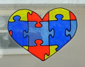 Awareness heart-Autism window cling, suncatcher, faux stained glass, decal
