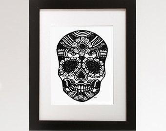 Sugar Skull. Hand pulled linocut print.