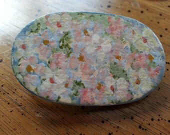 Vintage Wooden Hand Painted Hand Made Floral Brooch Pin Oval