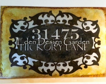 Custom etched metal address house or business sign oval scroll frame style