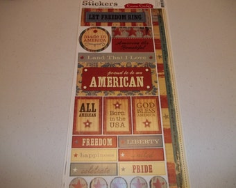 "Made in America Cardstock Stickers by Cosmo Cricket 5.5"" x 13"" sheet"