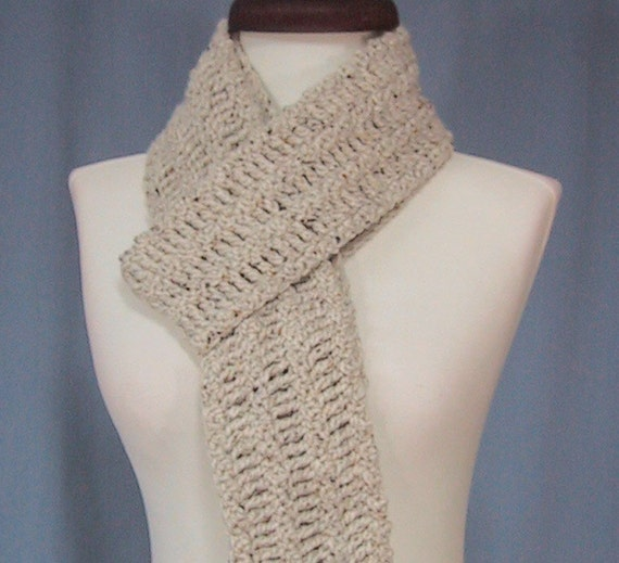 CLEARANCE PRICED - Tweed Long Scarf - Soft Wool and Acrylic Blend Yarn - Hand Crocheted - Unisex
