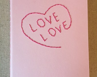 Hand Embroidered Moleskine Notebook - Love Love