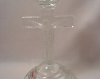 Clear Glass Religious Crucifix Cross Candle Holder