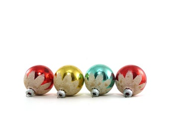 Vintage snow capped mica Christmas ornaments