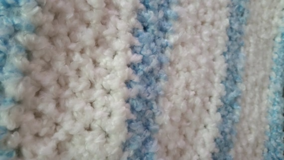 Blue & White Fuzzy Blanket by CraftingEclecticism on Etsy