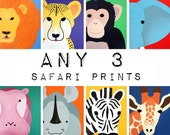 Safari nursery prints for baby & child. SET OF ANY 3 modern prints of jungle zoo animals theme for kids rooms and playrooms