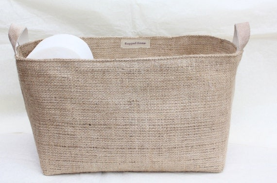 Hessian burlap toilet roll storage basket bucket eco by for Loo roll storage