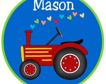 Valentine's Just a Tractor with stream of Hearts Iron on