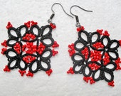 Handmade tatted earrings made of black cotton thread and red beads