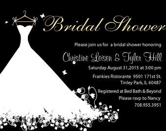 Wedding gown custom bridal shower invite