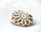 Crochet lace stone, Natural Wedding  favors ,Inspirational Wedding Decor,  Shabby chic Stone, Ring Bearer Pillow alternative.