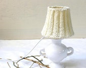 20% Off-Table Lamp , Drum  lamp shade,  Knitted fabric embellished decor in cream natural wool,  Desk lamp, Bedroom lamp country, Home decor