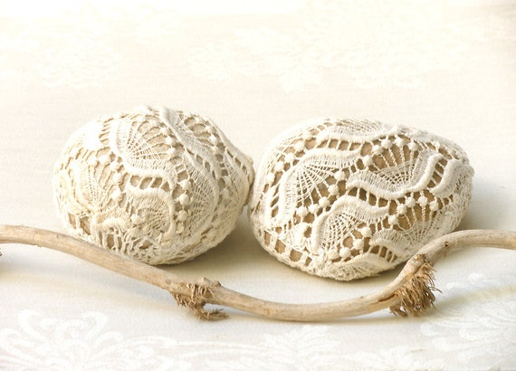 Lace crochet stones shabby chic pebble eco friendly home for Decorative rocks for sale near me