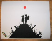 Banksy Poster Print -  Boys and Girls aka Kids with Guns - Multiple Paper Sizes