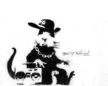 Banksy Canvas (READY TO HANG) - Boombox Rat - Multiple Canvas Sizes