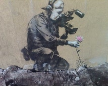 Banksy Canvas (READY TO HANG) - The Last Flower - Multiple Canvas Sizes