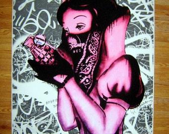 Banksy Art Print  - Snow White Grenade  - Multiple Paper Sizes