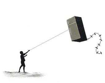 Banksy Canvas (READY TO HANG) - Fridge Kite - Multiple Canvas Sizes