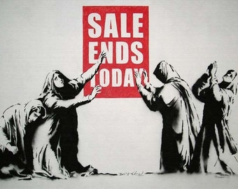 Banksy Canvas (READY TO HANG) - Sale Ends Today - Multiple Canvas Sizes