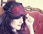 Madame Sleeping Mask in Burlesque Red Silk with  Calais Lace