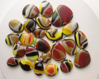 24 Glass Blown Cabochons For Stained Glass Mosaic Tiles Art Glass Projects Glass Tiles Fused Glass Stepping Stones 6594